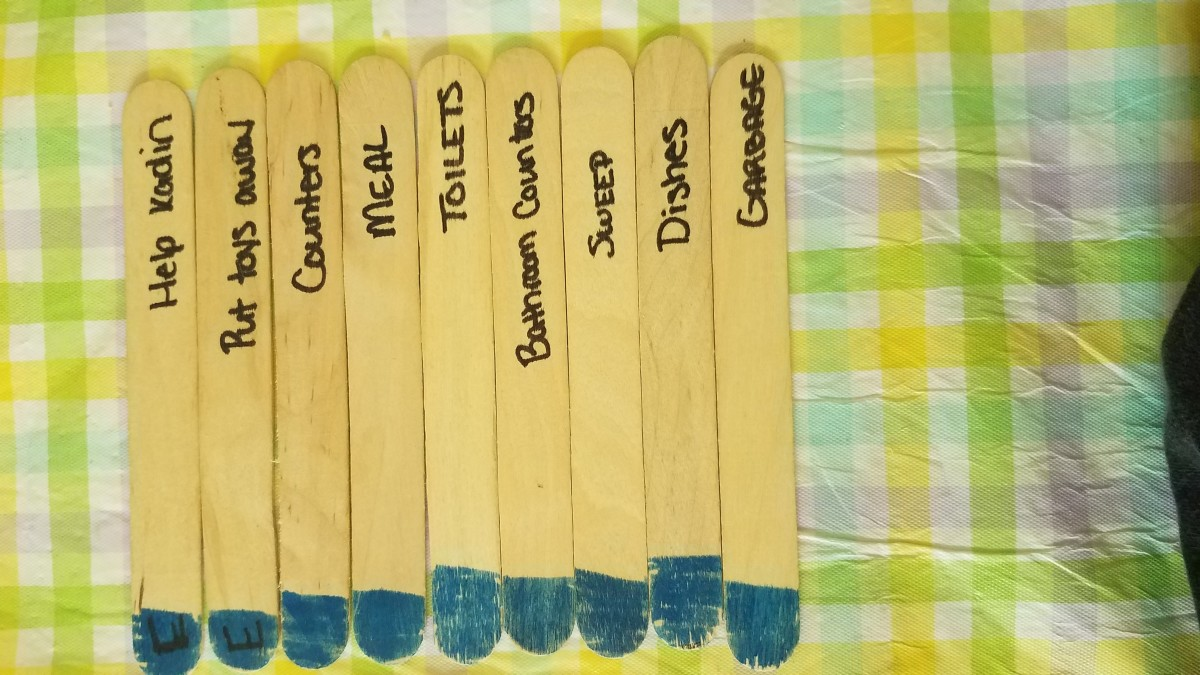 The typical chore selection. (Sticks labeled E were for the six-year-old specifically.)