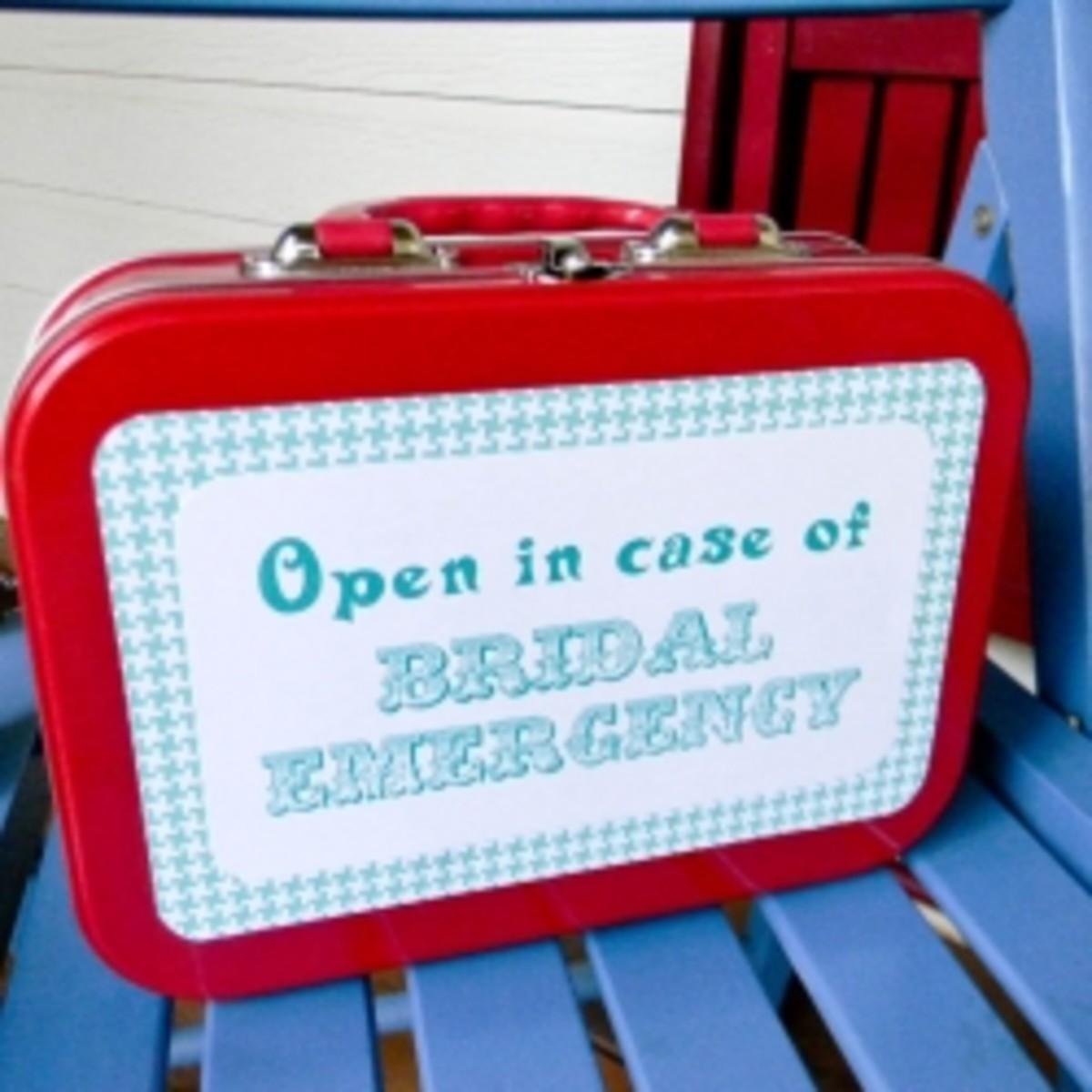 A cute presentation is always an added bonus! Look up 'free bridal emergency kit printables' on Pinterest :)