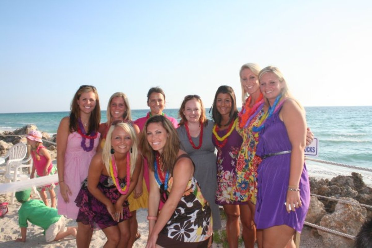 The Bridal Party at Emily's Rehearsal Dinner on beautiful Anna Maria Island Florida.