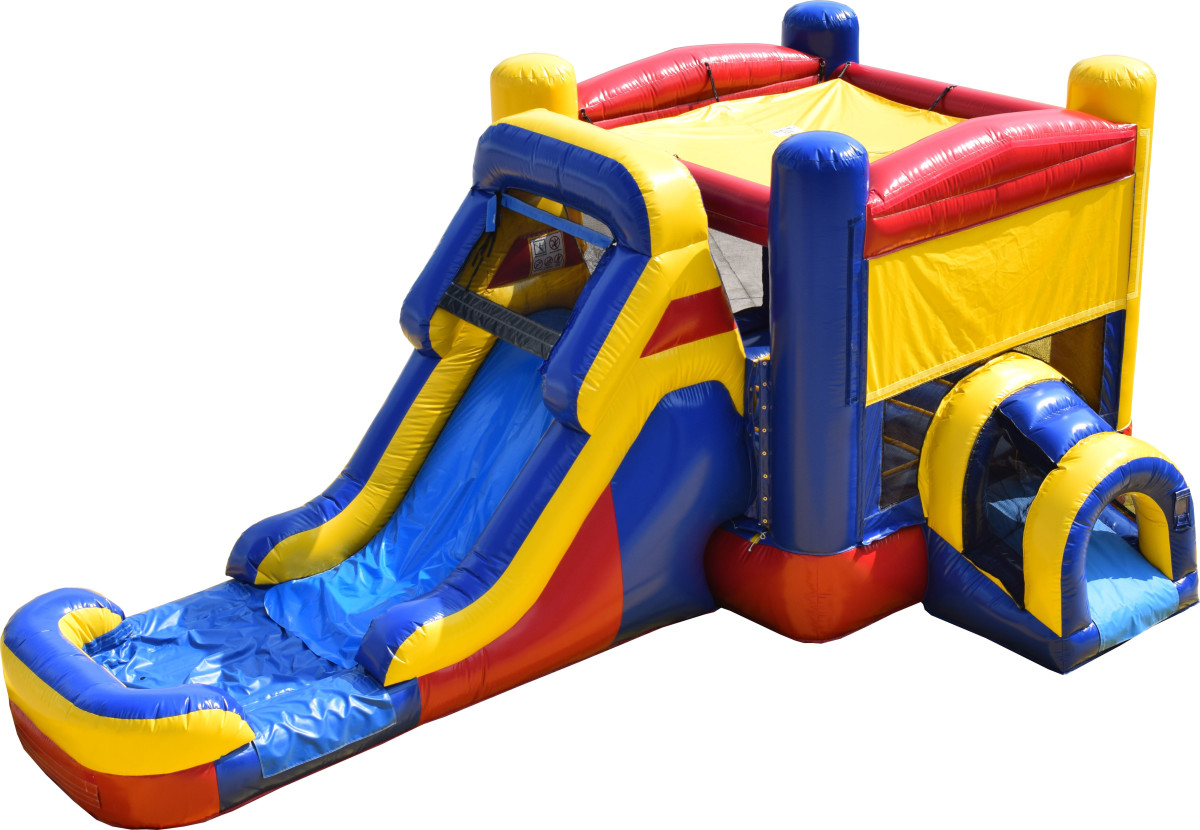 A standard bounce house/water slide combo unit