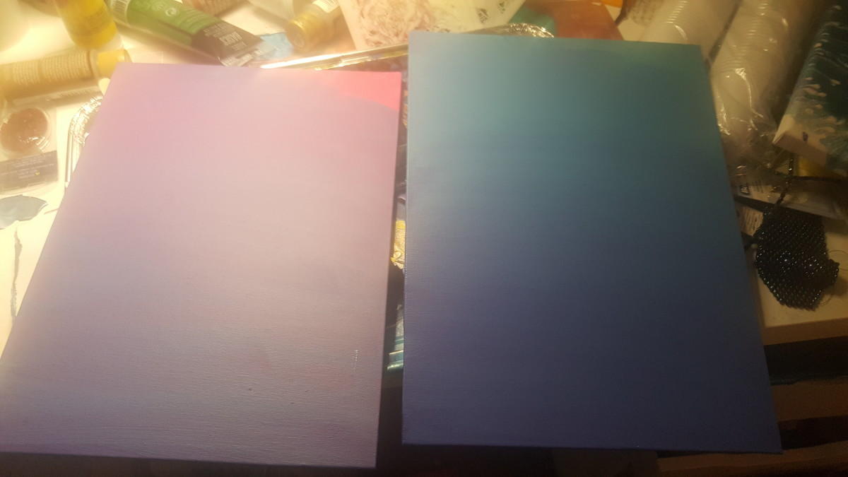 After a lot of playing, I decided to go with a calmer palate. These are the craft paints.