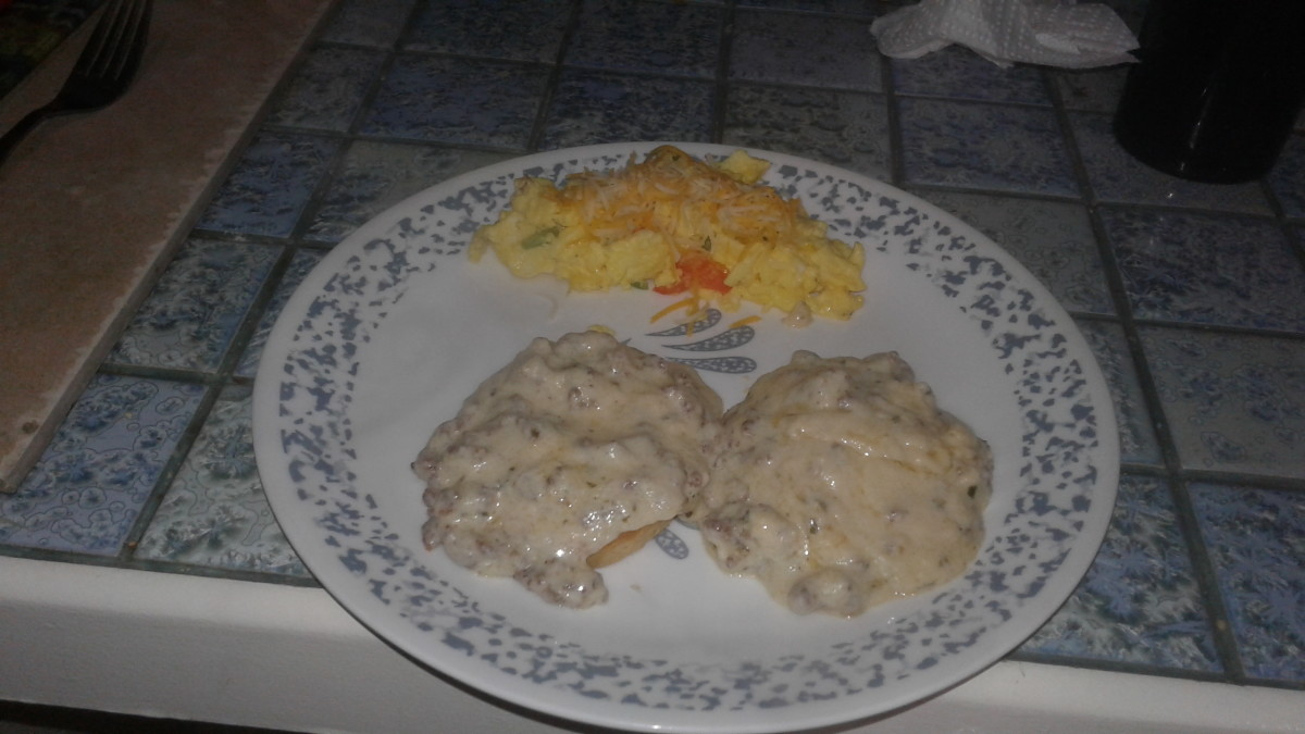 Biscuits and gravy with scrambled eggs. Breakfast is ready in just 20 minutes!