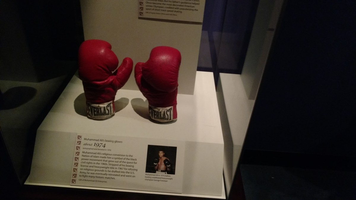 Muhammad Ali's gloves are on display at the Smithsonian Museum.