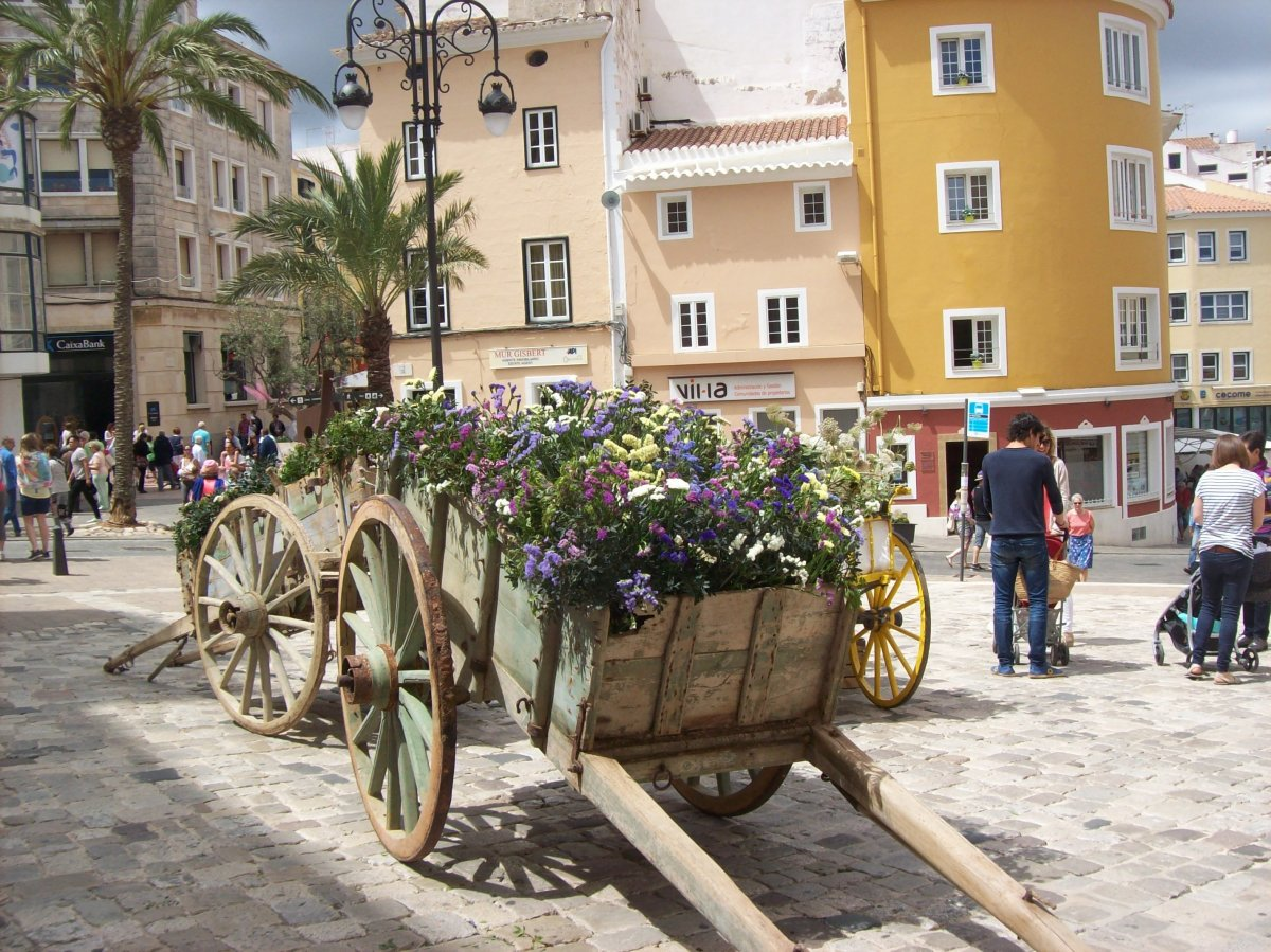 Old cart looking pretty as a picture in Mahon.