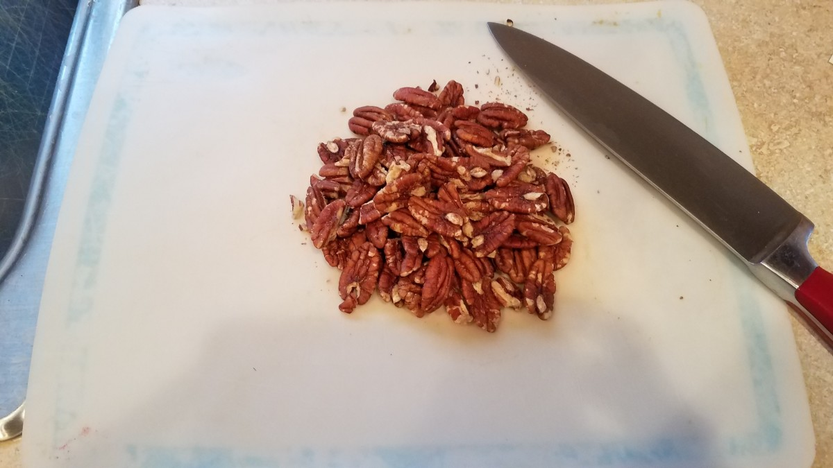 Now chop up your pecans for the topping.