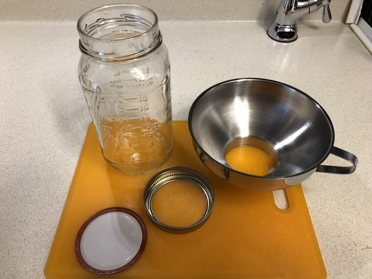 Canning jar, lid, seal, and funnel