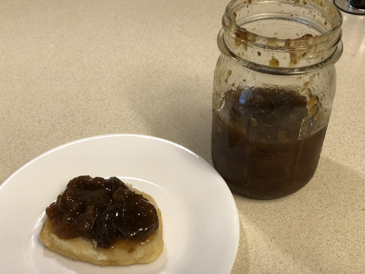 Mom's fig preserves on a Cracker Barrel biscuit
