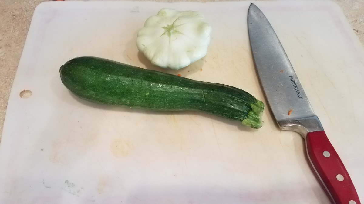 Chop your summer squash and pattypan squash.