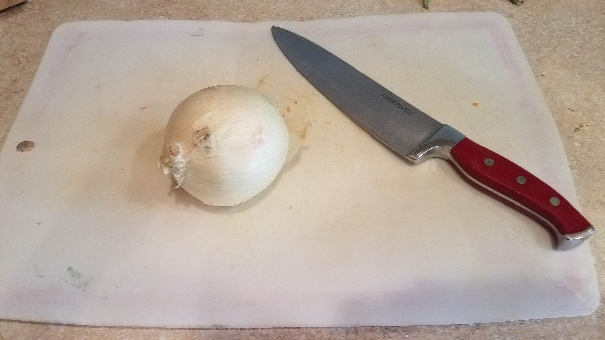 Chop a large onion into small pieces.