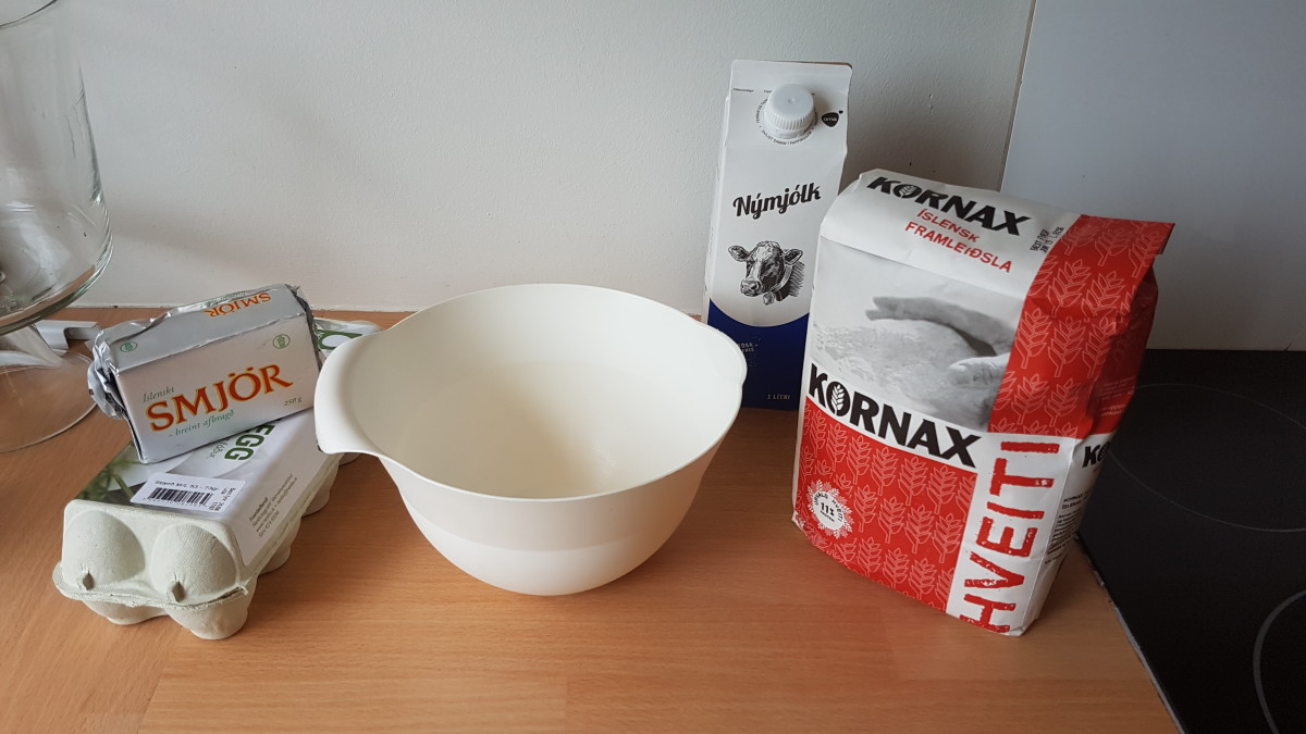 Most of the ingredients needed to make some crepes