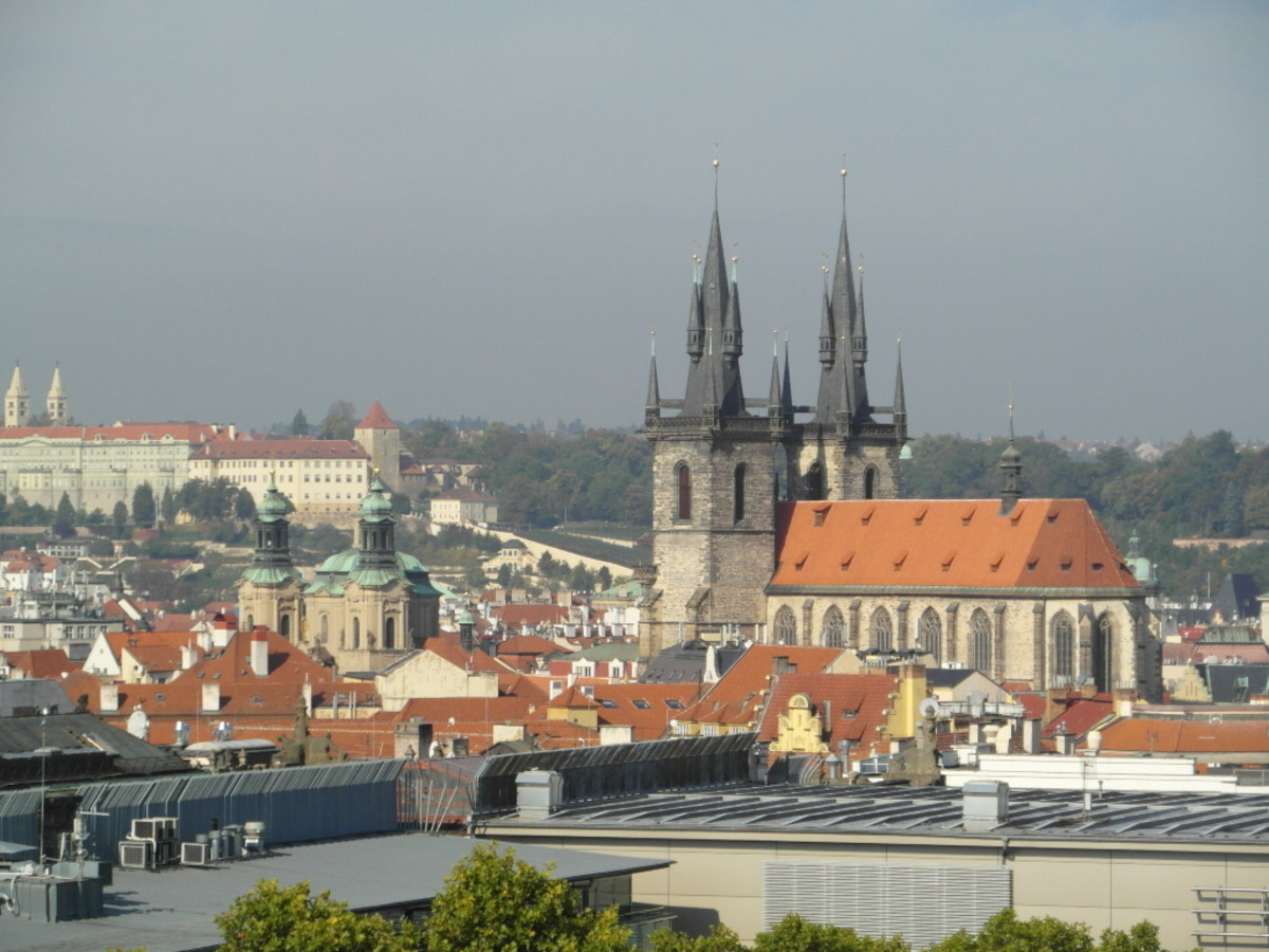 Church of St Nicholas and Church of Our Lady Before Tyn in Old Town Prague.
