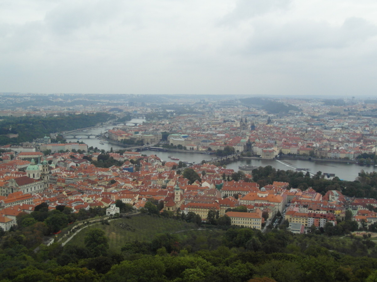 The view from the Petrin Tower over Mala Strana towards Stare Mesto on the far bank.