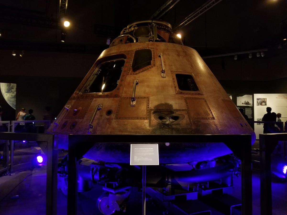 Columbia, the Apollo 11 mission's command module, at the St. Louis Science Center's Destination: Moon exhibit.