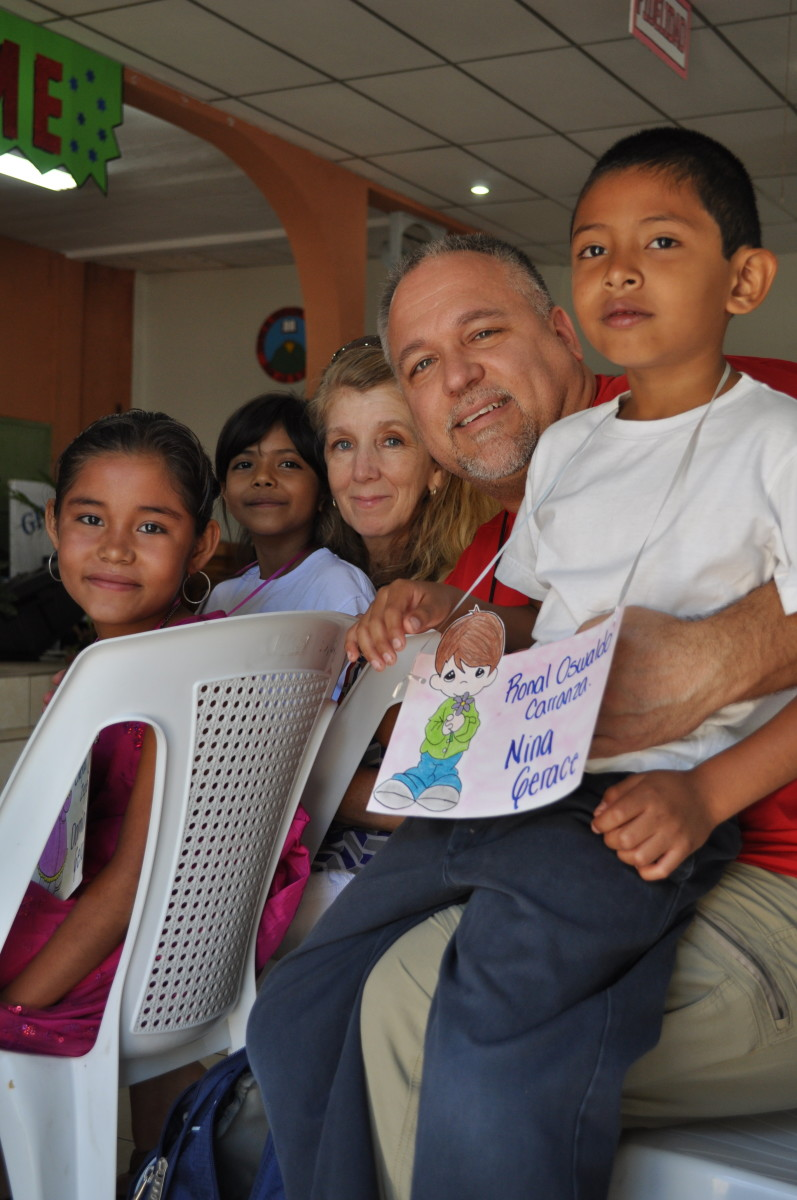 Nina and I with our sponsored children from left to right: Enyeda, Alexandra, and Oswaldo
