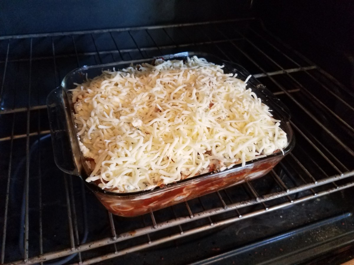 Step Twelve: Top with the rest of your cheese and put in the oven.