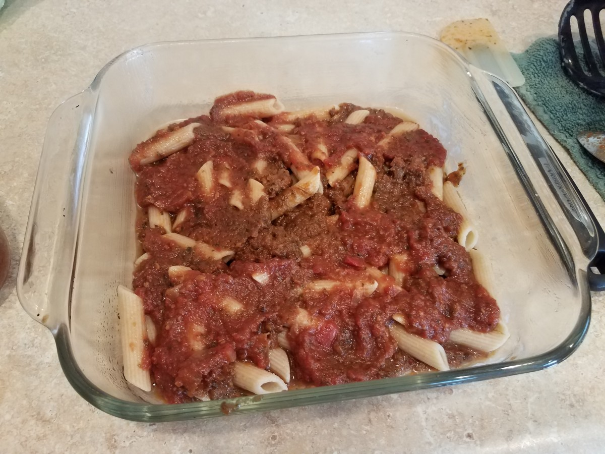 Step Five: Top with a cup of pasta sauce.