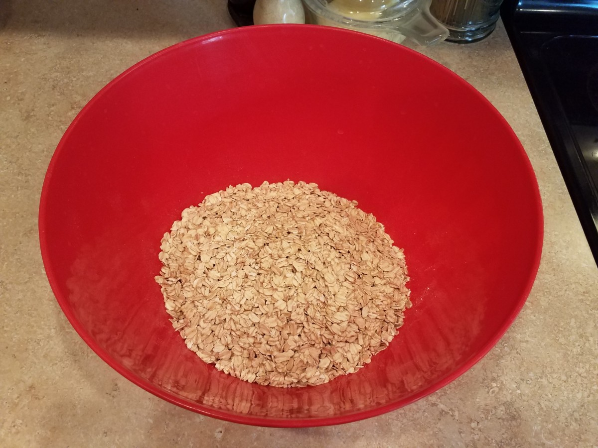 Step One: Add dry oats to a very large bowl. You'll see why such a large bowl is needed in a second.