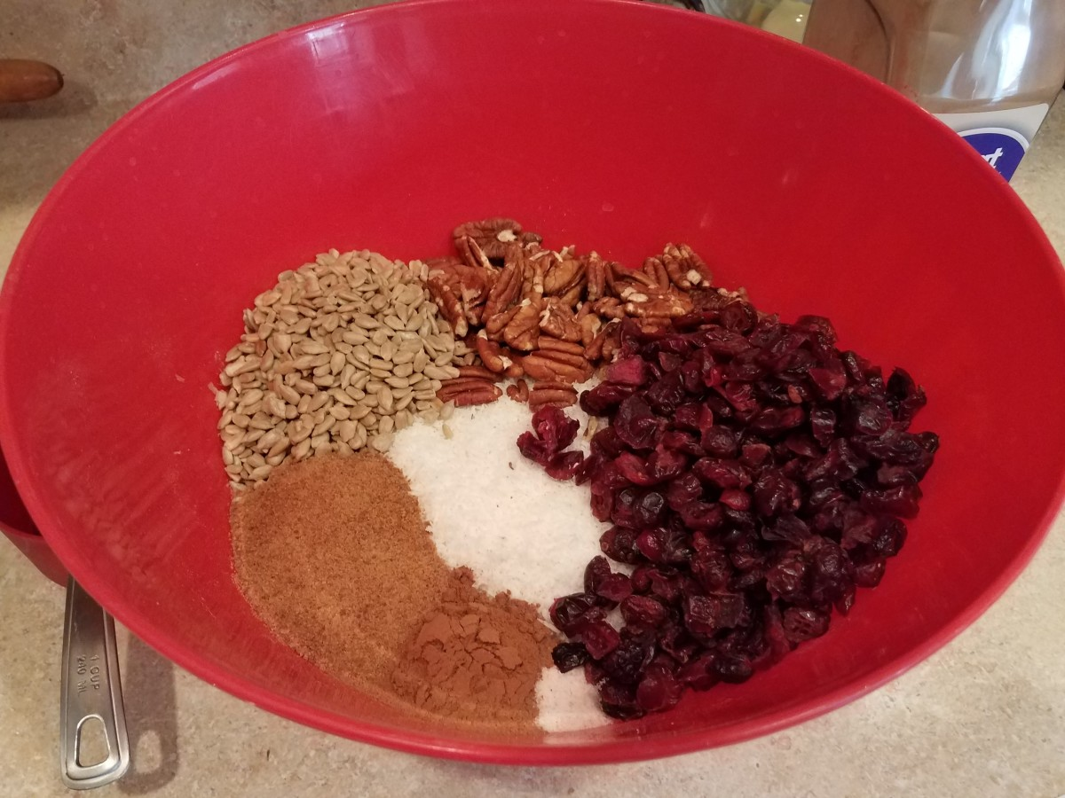 Step Three: Add all other dry ingredients to your bowl. Here I added pecans, dried cranberries, sunflower seeds, sugar, cinnamon and salt.