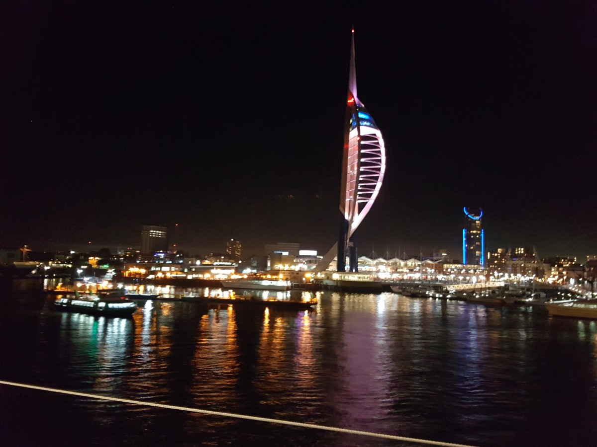 Portsmouth and the Spinnaker Tower by night.