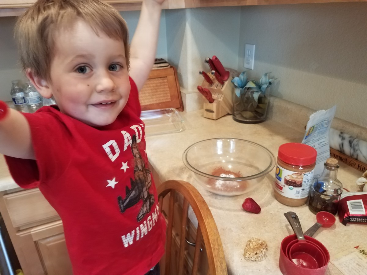 Step One: Get some good help to add all of your dry ingredients to a bowl.