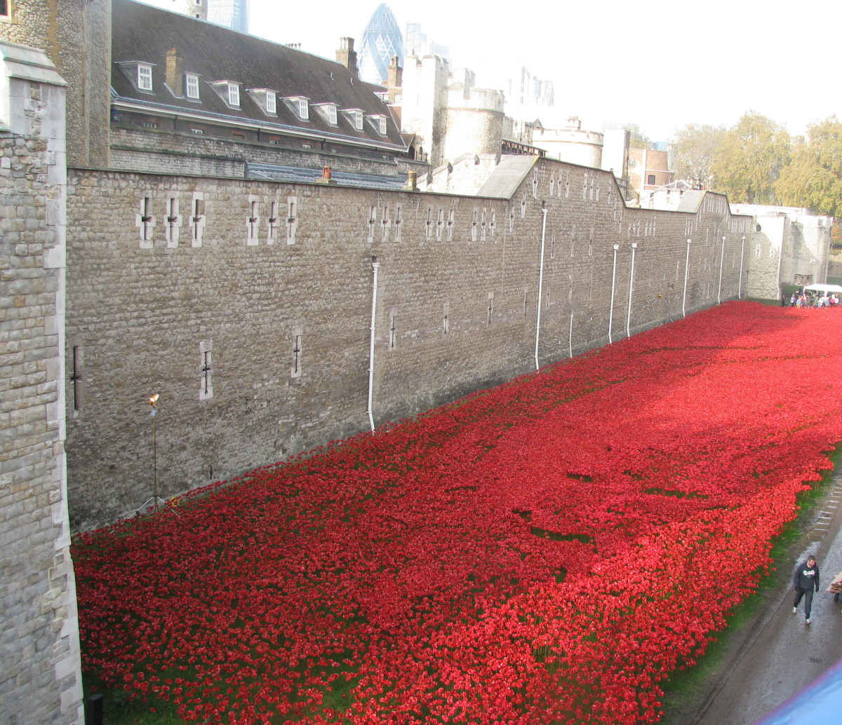 Remembrance with a Sea of Poppies: Art Installation at Tower of London commemorating the perished soldiers of WWI