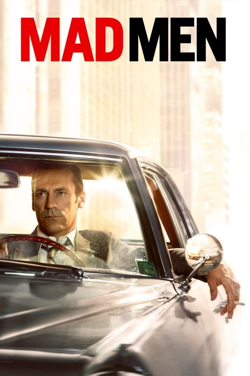 "Promotional poster for ""Med Men,"" featuring Don Draper driving a car while casually smoking."