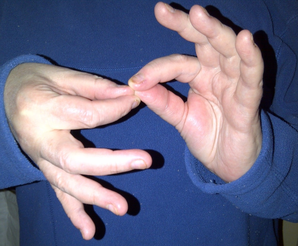 "When the right handshape goes up and down against the left handshape, the sign for ""interpret"" is formed."