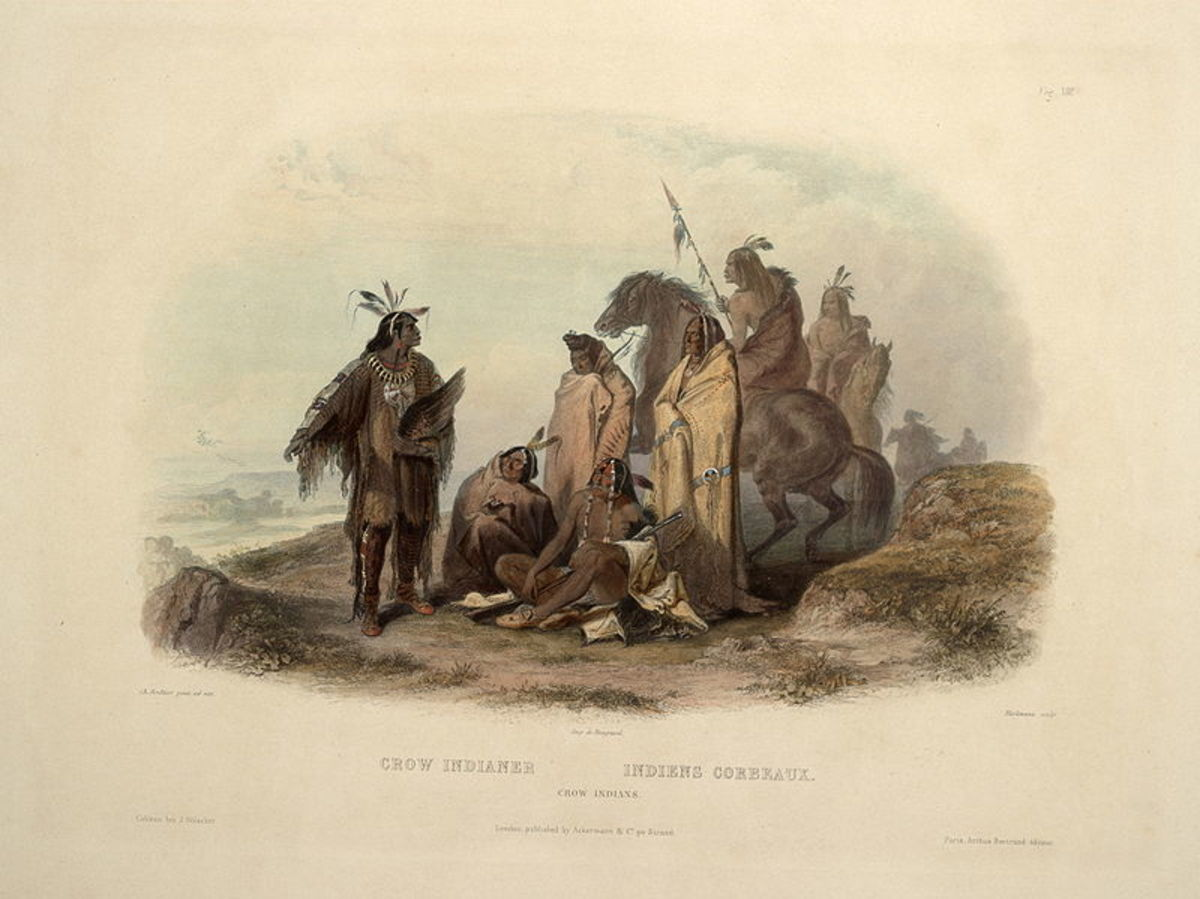 Crow members painted by Karl Bodmer around  1840.