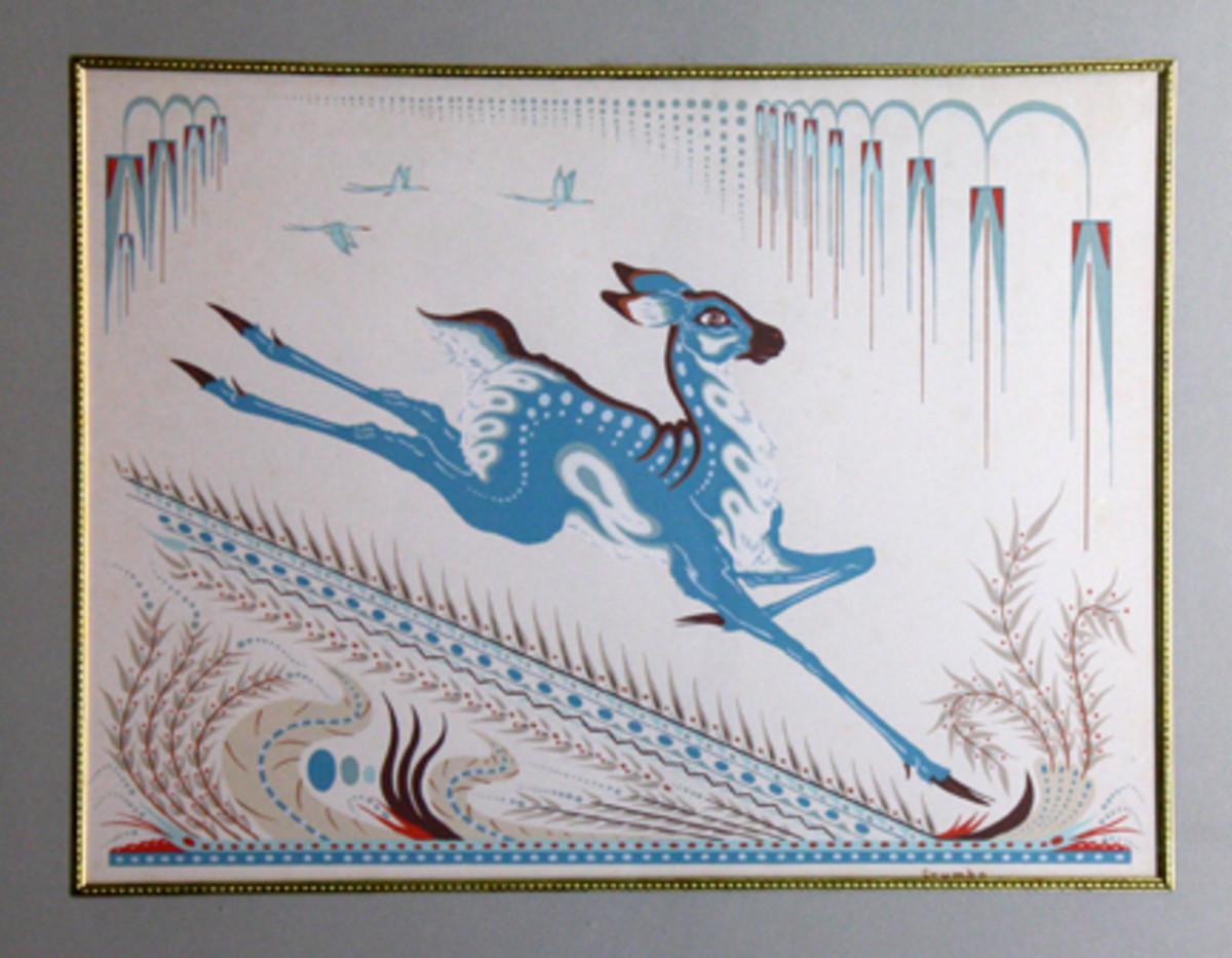 Serigraph by Woody Crumbo (1912-1989), a Potawatomi painter in Oklahoma.