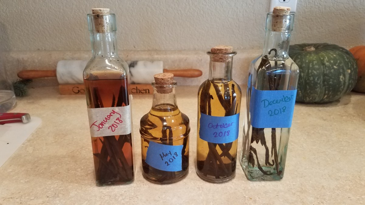 I use about a bottle every 3 months or so. I'll explain how to get to this place. Just notice how each of my bottles has a slightly different color. The darker ones have been steeping longer.