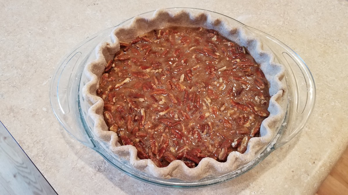 Pour it into your pie crust and bake. See recipe for specifics.