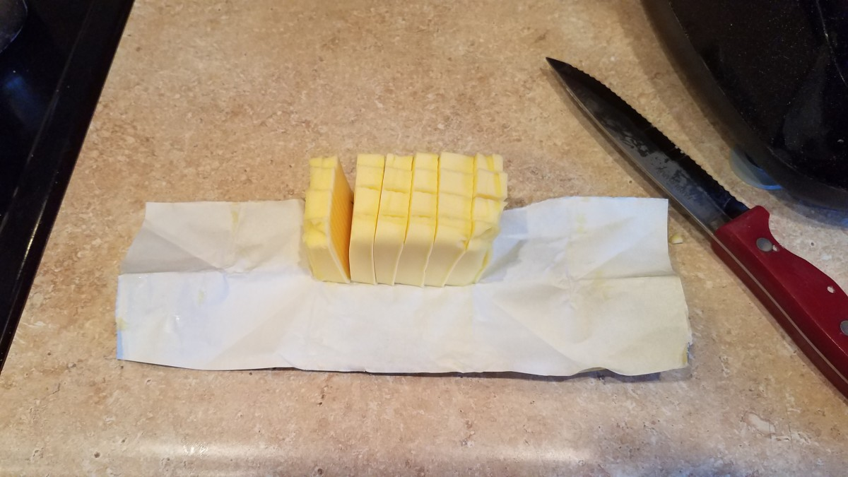 Then I chop up my cold butter into small chunks.