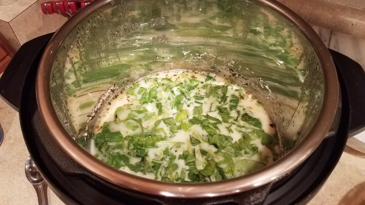 Then add your spinach and set your pot to saute while you stir it until your sauce starts thickening.