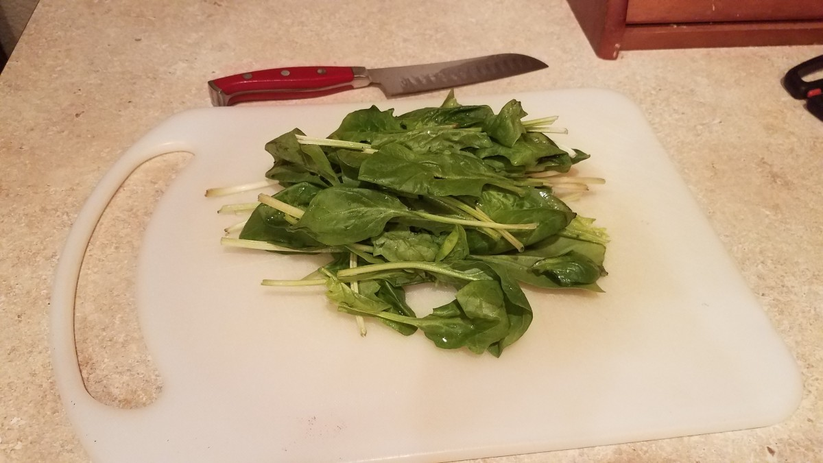 In the meantime, dice your fresh spinach leaves really small.