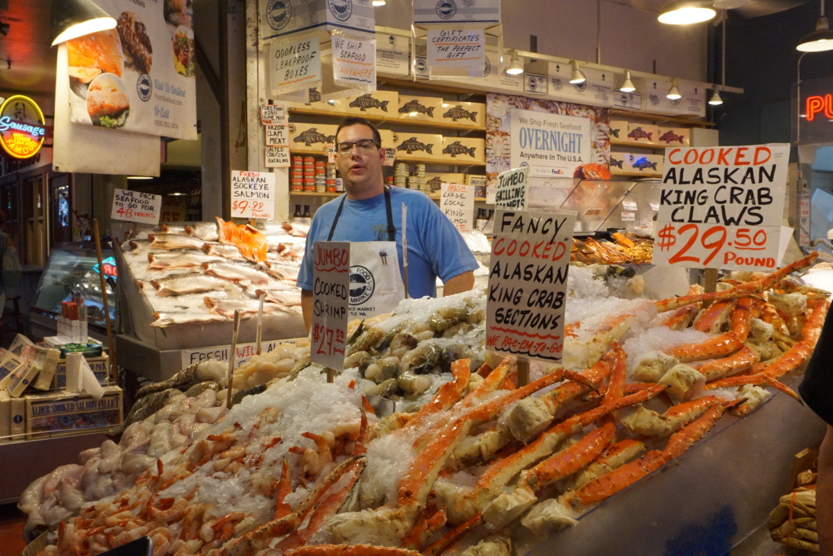 Seafood shop at Pike Place Market in downtown Seattle
