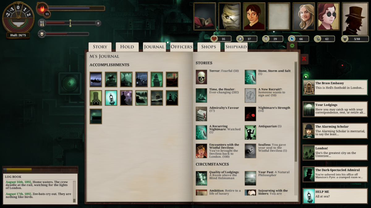 The player's journal in Sunless Sea.