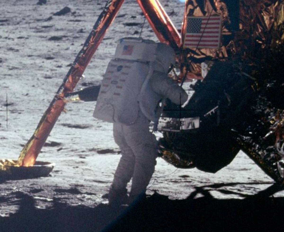 A photograph of Neil Armstrong taken by Aldrin.