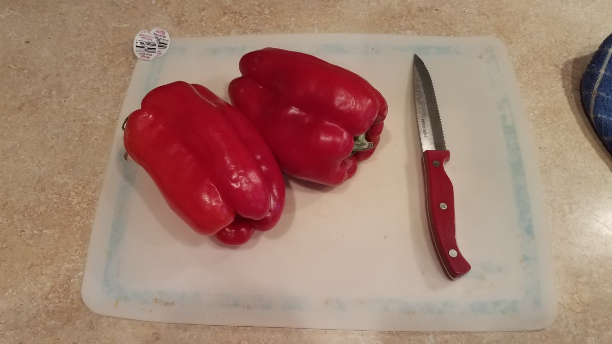 Then I cut up my red bell pepper. I only ended up using one. My toddler ran off with the other one.