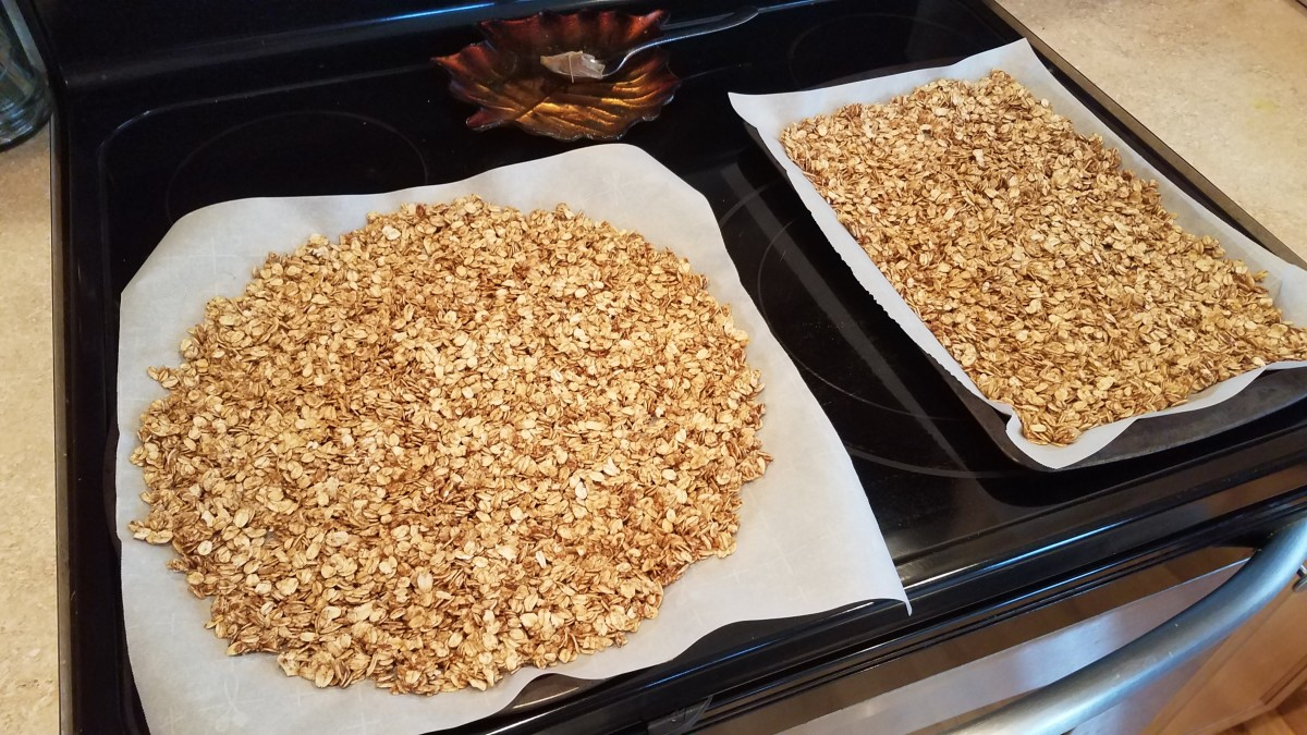 And spread your granola out evenly to bake.