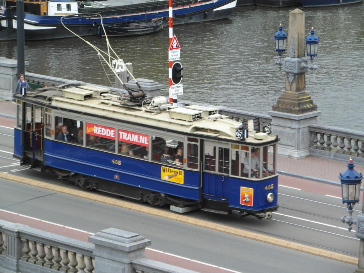 Tram on the bridge.