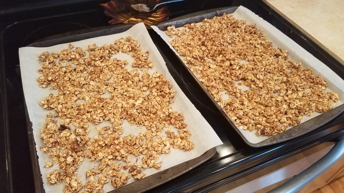 Pour the granola out in a thin, even layer on your cookie sheets.