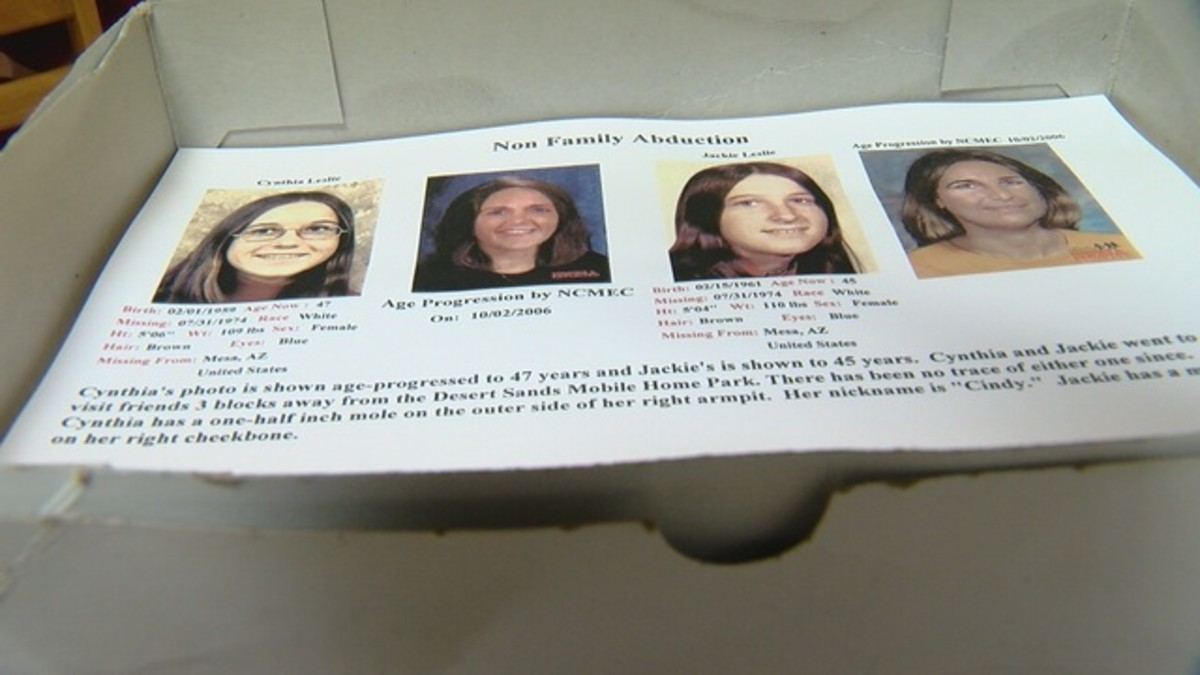 A box of age-progression posters sits on Erma's kitchen table. Photo courtesy of KGUN TV.