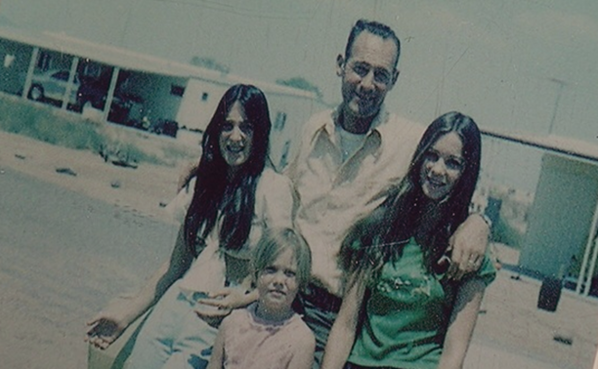 Jack Leslie with his daughters Jackie (left) and Cynthia (right) who vanished in 1974. Photo courtesy of Erma Prue.