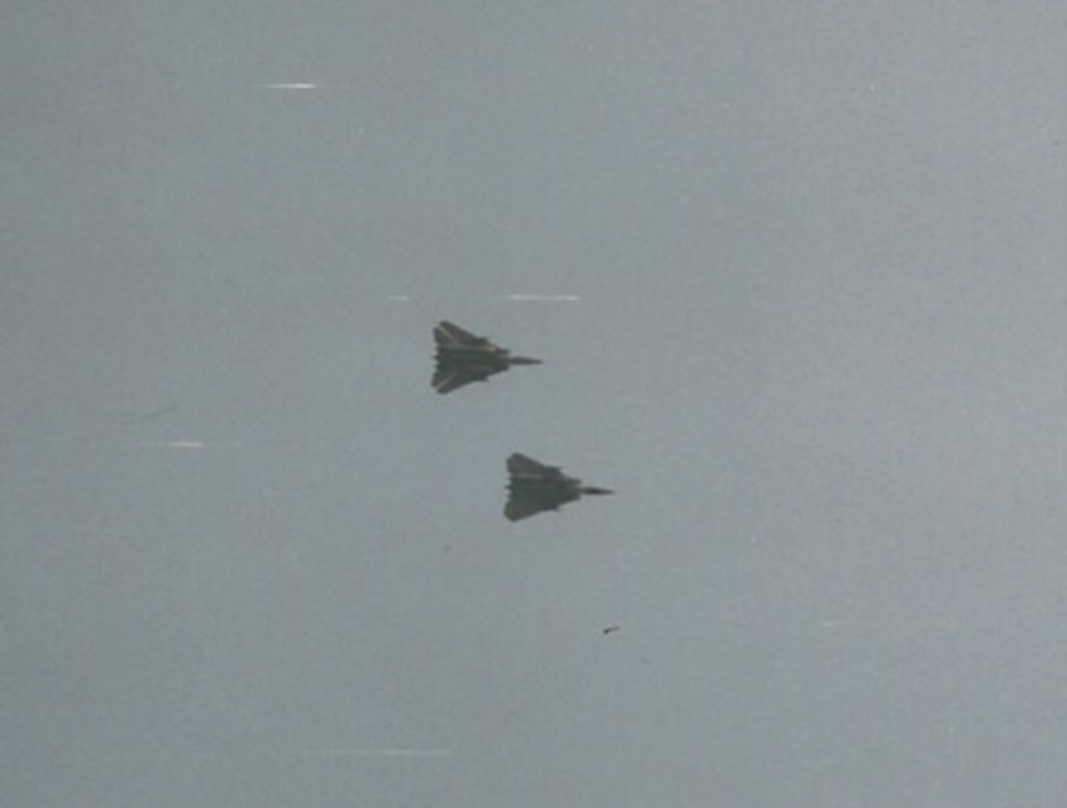 A pair of F14 Tomcats, Virginia Beach, May 2002.