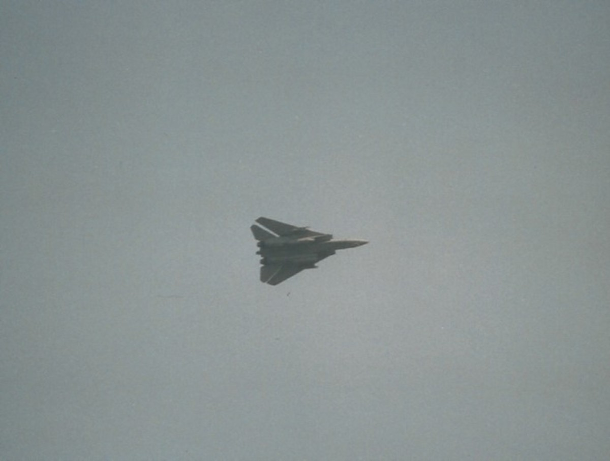 An F-14 Tomcat over Virginia Beach, VA, May 2002.