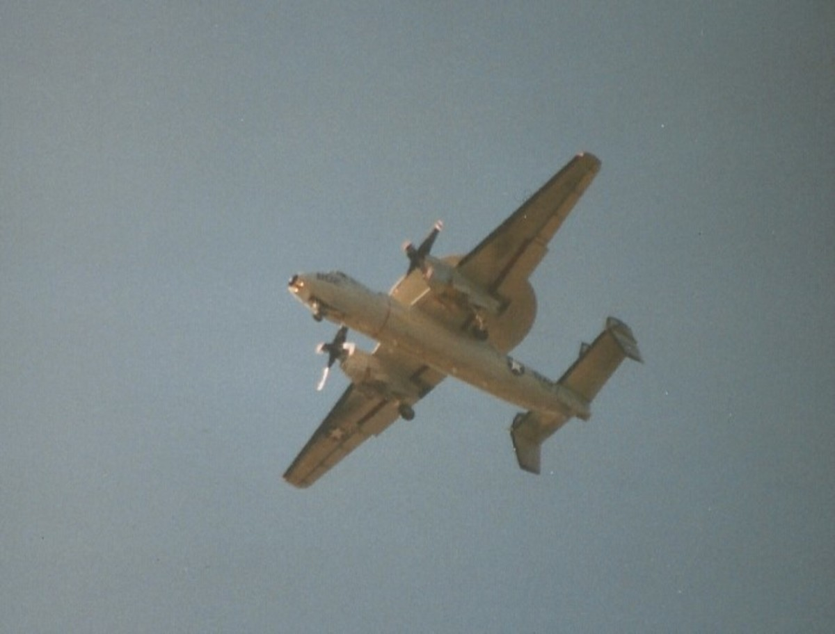 An E-2 Hawkeye over Virginia Beach, May 2002.