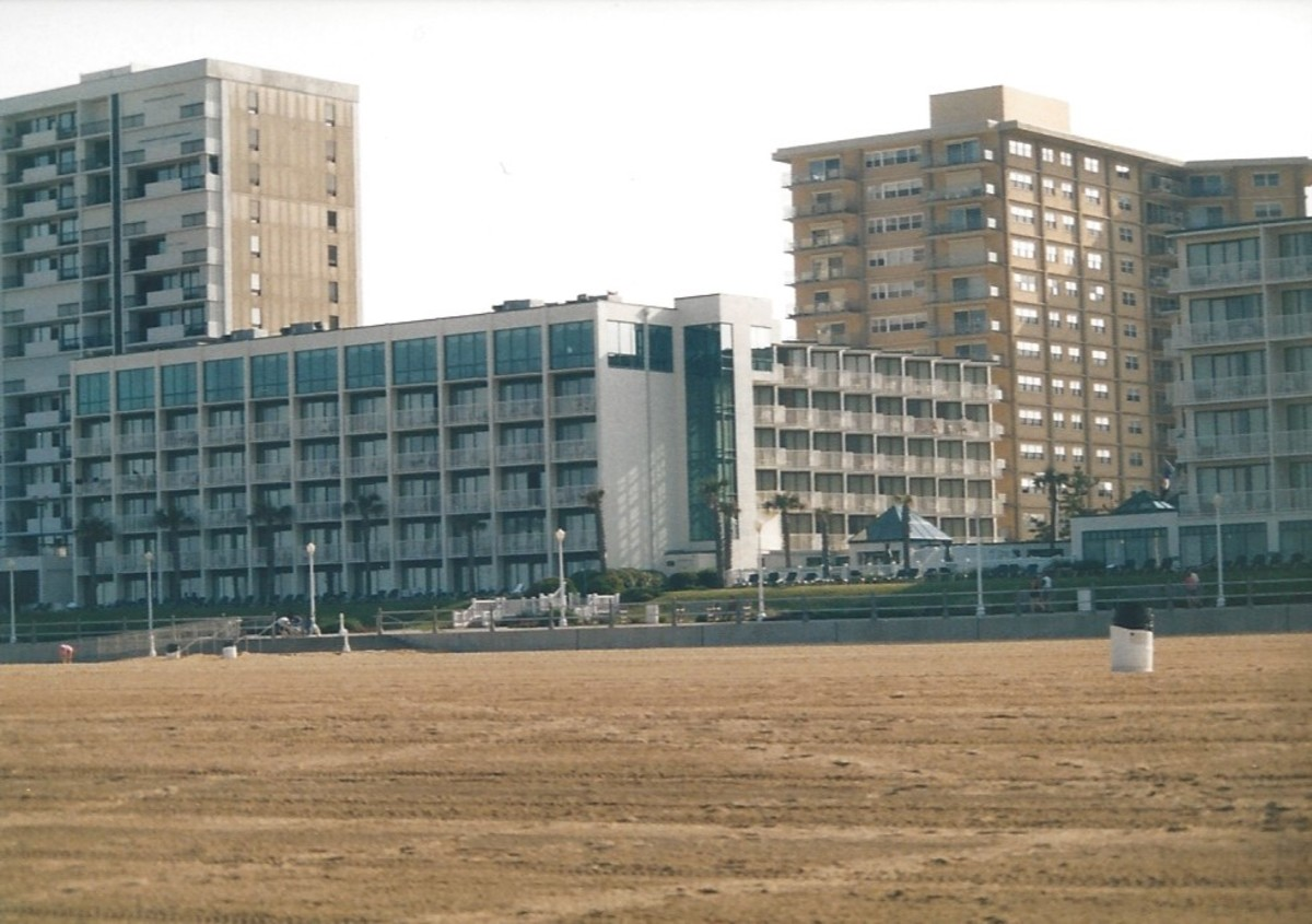 A view of a beachside hotel from the beech.