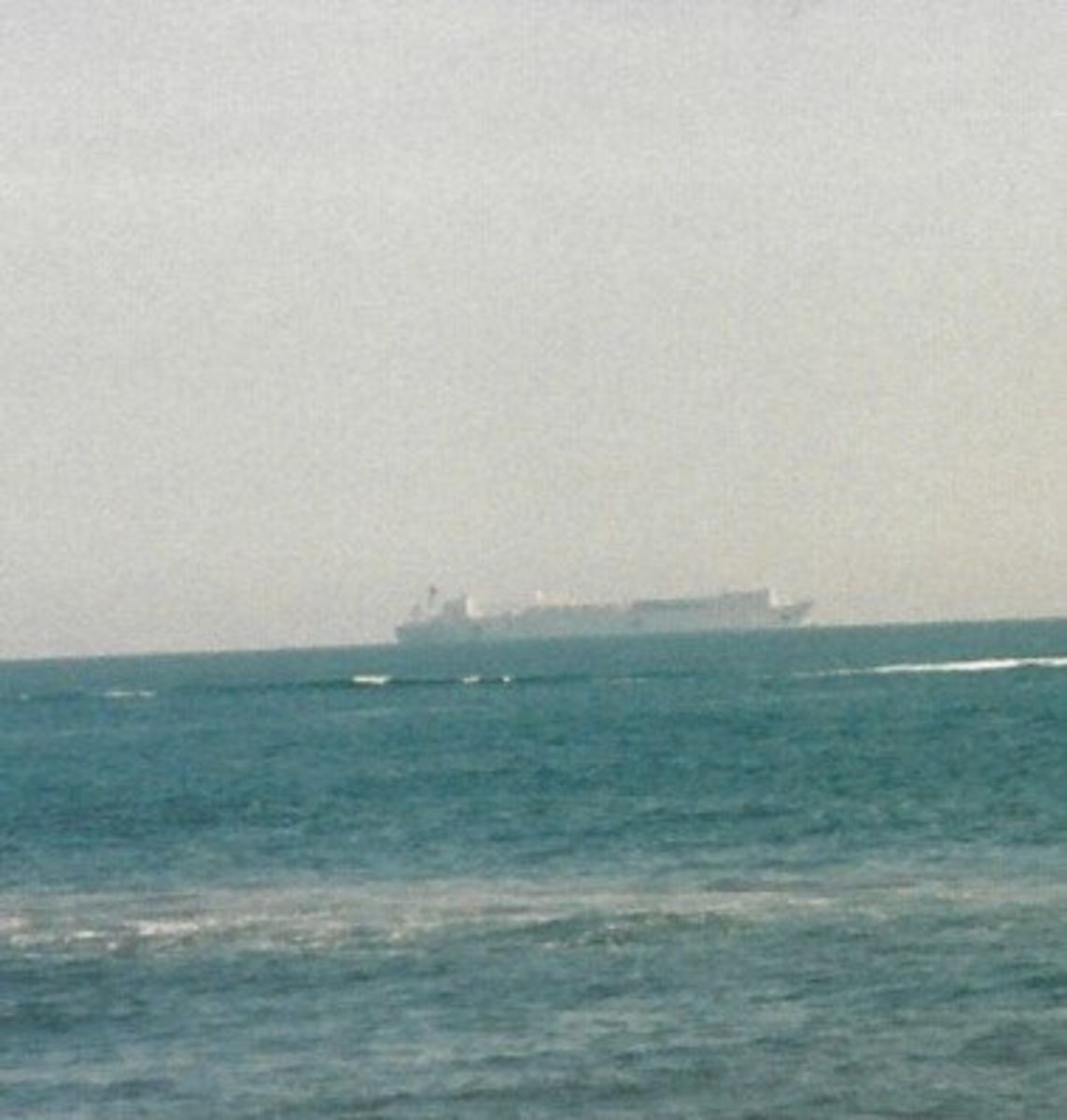 A ship off the coast of Virginia Beach.