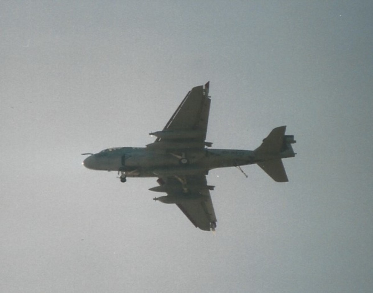 An EA-6B over Virginia Beach, VA, May 2002.