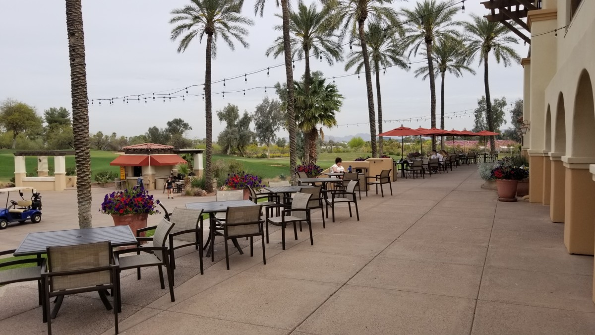 This is the outdoor dining area for Trail's End Bar & Grill.